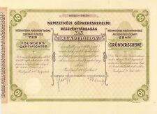 International Machinery Trading Company 1927 Budapest Hungary stock certificate