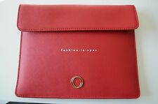Oroton Metier Tablet Leather Clutch Vivid Red BNWT RRP $175.00