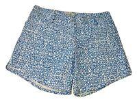 ADIDAS Women's Size 8 Blue White Print Polyester Shorts Mesh Pockets