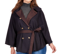Melissa McCarthy Seven7 Plus Size Cape Jacket REVERSIBLE Double-Breasted Navy 3X