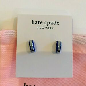 "Kate Spade New York""Sliced scallops"" silver, blue Half circle Earrings ,studs"