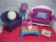 Barbie Glam Doll Dream Dollhouse FURNITURE Living Room Couch Sofa Floor Lamp Lot