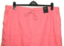 M&S Marks Pink Ladies Pull On Elasticated Waist Linen Rich Pencil Skirt 22 BNWT