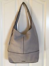 REBECCA MINKOFF *WHIPSTITCH* UNLINED SLOUCHY HOBO SHOULDER BAG PUTTY GRAY *EUC*