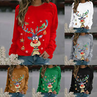 Women Christmas Elk Long Sleeve T-Shirts Tops Ladies Xmas Loose Pullover Blouse