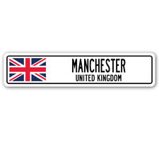 MANCHESTER, UNITED KINGDOM Aluminum Street Sign British Britons Brits flag city