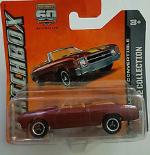 DIECAST MODEL MATCHBOX CHEVELLE SS CONVERTIBLE 2012 COLLECTION BURGANDY AGES 3+