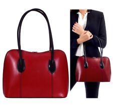 Neues AngebotDamen Handtasche italienisches Leder Schultertasche Damen Vera Pelle rot/schwarz Beuteltasche
