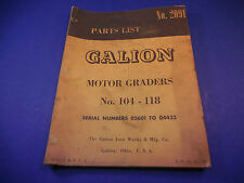 1962 Galion Motor Grader 104-108 Parts List No.2091 Serial # 02601 to 04432