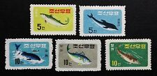 KOREA 1961, SC#291-295, Fishes & Whale, Set of 5, MNH