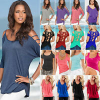 Womens Cold Shoulder T Shirt Tops Short Sleeve Summer Holiday Casual Tee Blouse