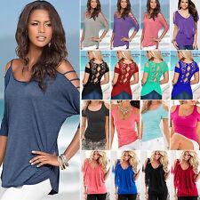 Womens Cold Shoulder T-Shirt Ladies Summer Short Sleeve Casual Tops Shirt Blouse