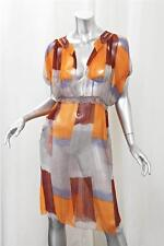 MARNI Womens Orange Multicolor Abstract Print Silk Chiffon Shift Dress 40/4