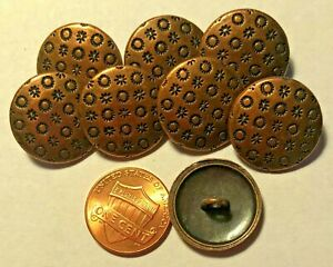 """8 Slight Dome Antiqued Copper Tone Metal Shank Buttons Just Over 3/4"""" 20mm 9562"""