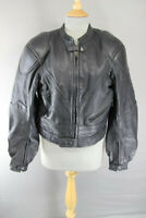 IXS BLACK LEATHER BIKER JACKET WITH REMOVABLE BACK PROTECTOR 40 INCH