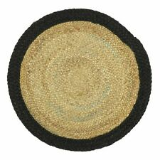 Round Jute Mat with Black Border Rugs Hand Woven Reversible Braided  Rugs
