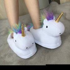 Unisex Unicorno Peluche Pantofole Morbido Ciabatte Comodo Inverno Slippers *@