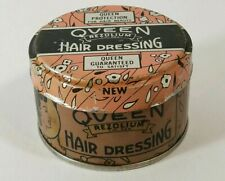 Vintage Nos Queen Rezolium Hair Dressing Advertising Tin with Contents 1 1/4 oz
