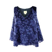 Anthropologie Maeve Womens Kenia Blouse Navy Blue Size Medium Lace Sleeveless