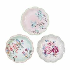 12 Luxury Vintage Style Afternoon Tea Party paper Plates Shabby Chic - 3 designs