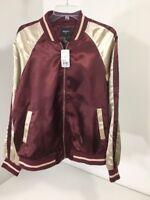 Forever 21 Mens Track Jacket Burgundy/ Tan Size Large NWT $30