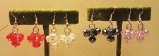 4 Pairs Vintage 70's Lot Glass Crystal Cluster Bead Pierced Earrings
