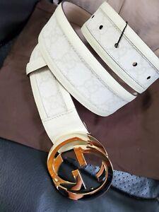 "NWT Authentic Gucci Belt White Signature Monogram GG 95m 32""-34"" Waist"