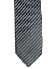 Alfani Men's Astro Striped Neck Tie & Tie Clip Black Grey Skinny 2 1/2