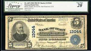 1902 $5 National Bank of Italy NT&SA, SF, CA Fr. 609 Ch#13044 VF20 258715T