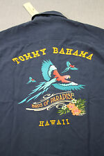 TOMMY BAHAMA Men Navy Blue Birds Of Paradise HAWAII Silk Camp Shirt NWT  S  $148