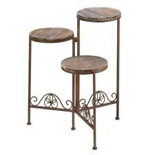 Pair of (2) Triple Foldable Iron Plant Stand Planter Garden Yard Patio Flowers