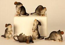 6er Set Mäuse Figuren für Haus und Garten Dekoration bis 8cm Nagetiere Maus