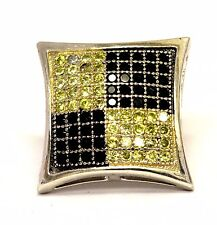 925 sterling silver black yellow cz single stud one not a pair earring estate