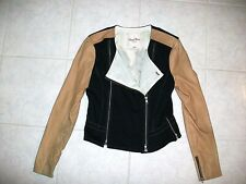 Tracy Reese Lamb Skin Leather and Knit Moto Jacket--Size 6--Unique and Classic