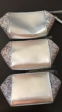3 * Saks 5th Ave COSMETIC BAG Faux Leather SILVER / Sparkling GWP New