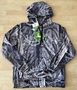 Very Nice Men's John Deere Mossy Oak Camo Hoodie Sweatshirt Size Large NWT