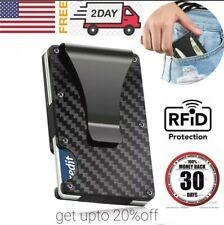 RFID Blocking Slim Money Clip Mens Carbon Fiber Credit Card Holder Metal Wallet