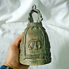 Antique Thai Bell Elephant Brass Clapper Sound Temple Hanging Decor Collect #13