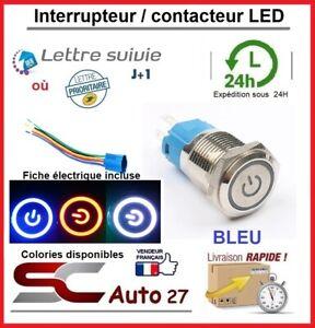 interrupteur / bouton poussoir LED 16 mm avec fiche de connexion bleu locked