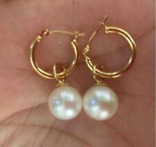 fashion  7-8MM AAA PERFECT south sea white round pearl earrings 14K GOLD