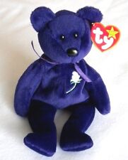 Princess Diana Beanie Baby Bear Royal Purple Plush PVC Pellets 1st Edition MINT