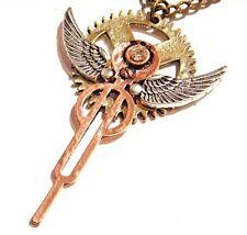 ART DECO METROPOLIS STEAMPUNK NECKLACE clock gear wings rhinestone copper Z6