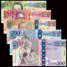 Botswana 5 PCS 10,20,50,100,200 Pula,UNC