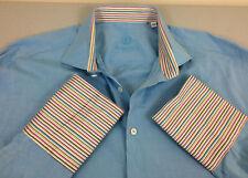 Bugatchi Uomo Men Dress Shirt Size 18 1/2 Light Blue- Very Good Condition