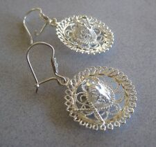 925 Silver Taxco Mexican Filigree Handcrafted Charro Sombrero Dangling Earrings