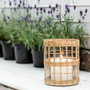 Bamboo Cane & Glass Hurricane Lantern Pillar Candle Holder, Rustic Light 16x20cm