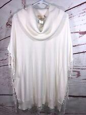Michael Kors MK Womens White Fringe Turtleneck Poncho Oversized Sweater SZ M