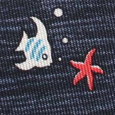 100% REAL HERMES TIE ~ BLUE w/ FUN BLUE ANGEL FISH & YELLOW MOONS RED STARFISH