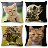 """18"""" Lovely Pet Cat Cushion Cover Linen Pillow Case Sofa Bed Home Decor Gift"""