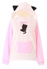TS-160 Rosa Weiß Katzen-Ohren Magic Pastel Goth Lolita Pullover Hoodie Kawaii